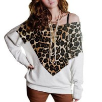 Amazon.com: Allegra K Women Leopard Print Front Scoop Neck Bat Wing Sleeve Shirt White S: Clothing