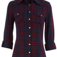 Magenta checked shirt - View All New In - What&#x27;s New - Dorothy Perkins