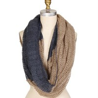 Beige/Blue  Two Tone Crochet Scarf
