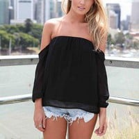 Black Off the Shoulder Top with Sheer Chiffon Sleeves