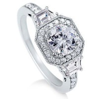 Sterling Silver Ring Round Cubic Zirconia CZ Ring 2.1 ct.tw - Nickel Free Engagement Wedding Ring: Jewelry: Amazon.com