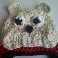 Georgia Bulldog Crochet Earflap Beanie Choose Your by mimisbabies