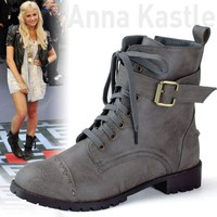 AnnaKastle New Womens Distressed Motorcycle Lace-Up Ankle Flat Boot Gray US 6.5
