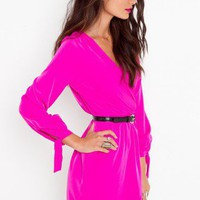 Tied Wrap Dress - Fuchsia - NASTY GAL