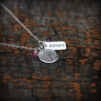 Sisters Necklace - Personalized Jewelry . Custom Birthstone . Tree of Life . Sterling Silver