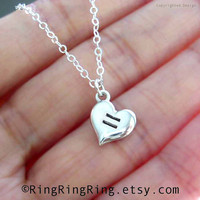 Equal Love Heart necklace sterling silver necklace by RingRingRing