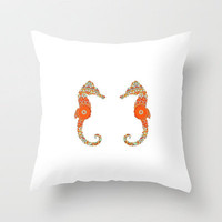SEAHORSE COUPLE Throw Pillow by M✿nika  Strigel	 | Society6