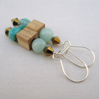 turquoise earrings  sterling silver wood and swarovski by BeaKez