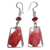 Bougainvillea earrings. Real flower in resin earrings.  Gift for her. Red dangle earrings. Christmas earrings.