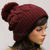 Men Women pom pom BEANIE Knit best ski snowboard Hats Crochet top LSK Burgundy
