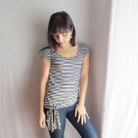 Striped tshirt womens top - scoop neck shirt fitted top
