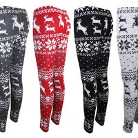 Nordic Reindeer Snowflake Aztec Knit Knitwear Leggings Tights Womens Ladies