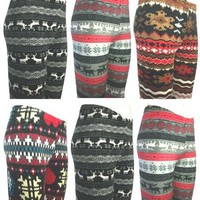 NEW Size 8/10,12/14 & 16/18 Fairisle Velour Leggings Nordic Winter Warm Velvet