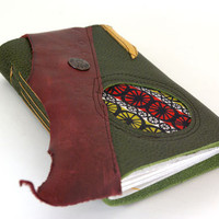 Bike Wheels - Leather Journal or Sketchbook - the Wanderlust Collection - (med)