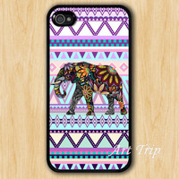 iPhone 4 Case, iphone 4s case -- aztec iphone case, Elephant iphone case, colorful elephant on aztec iphone 4 case
