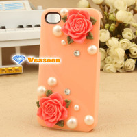iphone case 3D case iphone case iphone 4 case iphone 4s case Resin Flowers with pearl case cell phone cases