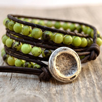 Earthy wrap bracelet. Green jade beaded bracelet. Triple wrap leather bracelet