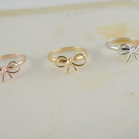 tiny small cute bow rings CHOOSE ONE gold / silver / rose gold
