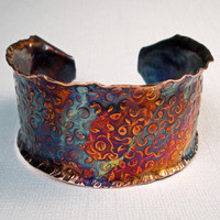 Hammered Copper Cuff Bracelet A Colorfully Bold by FebraRose