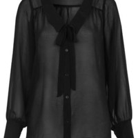 Black Boat Neck Shirt - Miss Selfridge