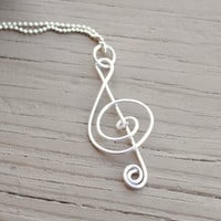 Wire Necklace Charm Pendant Silver Treble Clef