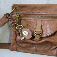 Fossil brown leather key cross body bag