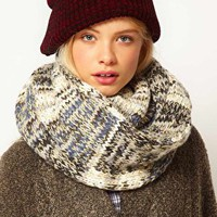 ASOS Metallic Patchwork Knit Snood at asos.com