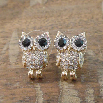 Owl Earrings - Gold Rhinestone Owl Earrings