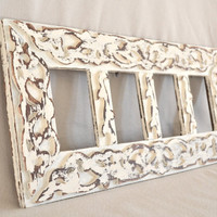 Detailed White Shabby Chic Wood Frame With Four Openings