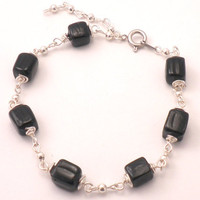 Black and Silver Bracelet with Cube Glass Beads and Round Silver Link Beads