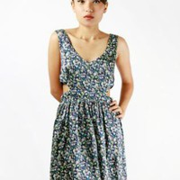 Floral Print Sleeveless Dress with Cutout Side Detail