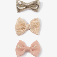 Metallic Bow Clip Trio