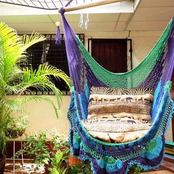 Green Purple Turquoise Blue Hanging Chair Natural Cotton and Wood plus Simple Fringe