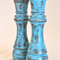 Upcycled Turquoise Salt and Pepper Shakers
