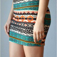 Trendy Clothing, Fashion Shoes, Women Accessories | Ethnic Pattern Mini Skirt - Multicolor Skirt  | LoveShoppingMiami.com