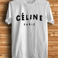 New CELINE Paris Logo Chanel Men White T Shirt Tee CL2