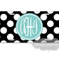 License Plate  Car Tag Personalized Monogrammed with Your name or initials Polka Dots