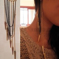 Cool Rock Punk Rivets Spike Long Tassels Ear Cuff Wrap No Piercing Earring S43
