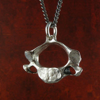 Vertebrae Necklace Antique Silver Human Vertebra Pendant on 24&quot; Gunmetal Chain - Anatomical Jewelry
