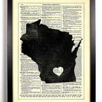 Wisconsin State Map Dictionary Book Print Upcycled Book Art Upcycled Vintage Book Print Antique Dictionary Buy 2 Get 1 FREE