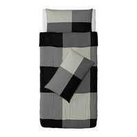 BRUNKRISSLA Quilt cover and 4 pillowcases - black/grey, 200x200/50x80cm - IKEA