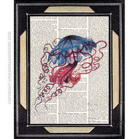 BLUE RED JELLYFISH art print on vintage by EphemeraAndMore on Etsy