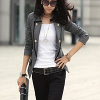 Modern Fashion Handsome Lapel Ladies Jackets Gray : Wholesaleclothing4u.com