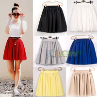 New Retro High Waist Pleated Double Layer Chiffon Skirt Pompon Skirts 8 Colors