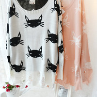 Fashion new arrival loose cat fashion hole sweater VIVIWildfox LEAN WHITE CAT
