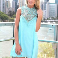 Blue Sleeveless Dress with High Lace Neckline