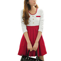Fashion Ladies Scoop Neck Slim Waist Button Decor Spring Dress -- Red,White,0