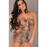 Leopard Print Strapless Sweetheart Neck Cutout Sexy Mini Dress