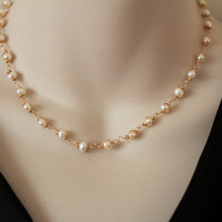 Pearl Necklace Bridal Gold Wedding Statement Jewelry White Metal Handmade Luxe Style