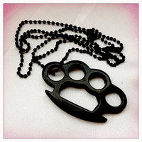 Black Brass Knuckles Necklace